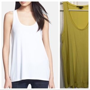 Vince Chartreuse Scoop Neck Flowy Tank